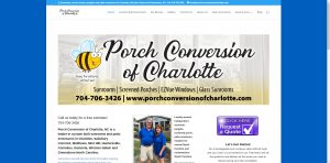 image show screen shot of Porch Conversion of Charlotte website developed by Digital Business Services in Greenville NC