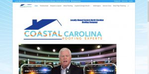 image shows screenshot of Coastal Carolina Roofing Experts website and SEO developed by Digital Business Services