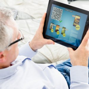 Picture of a man with a tablet