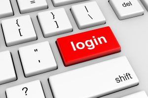 Keyboard with Red Login Button Illustration
