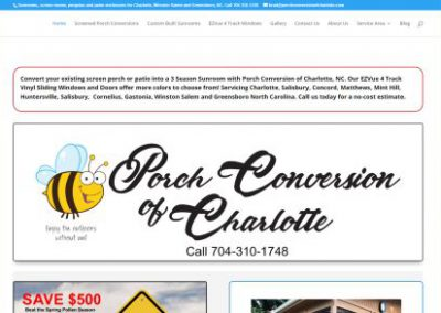 image shows website front page for Porch Conversion of Charlotte designed by Digital Business Services of Myrtle Beach SC