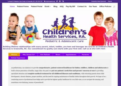 image shows website design for Childrens Health Services by Digital Business Services Myrtle Beach SC