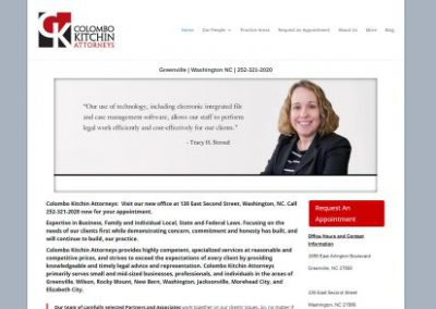 image shows website design for Colombo Kitchin Attorneys in Greenville NC