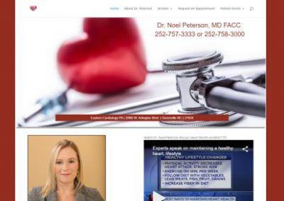 image shows website design by Digital Business Services of Myrtle Beach SC for Greenville NC Cardiologist Dr. Noel Peterson