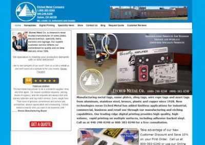 image show website design for Etched Metal Co. by Digital Business Services Myrtle Beach SC