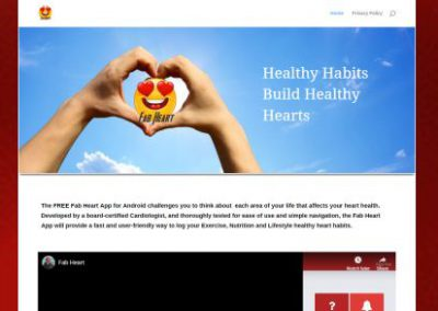 image shows website design for Fab Heart Healthy Heart App by Digital Business Services Myrtle Beach SC