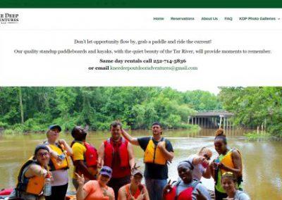 image shows website design for Knee Deep Adventures by Digital Business Services Myrtle Beach SC