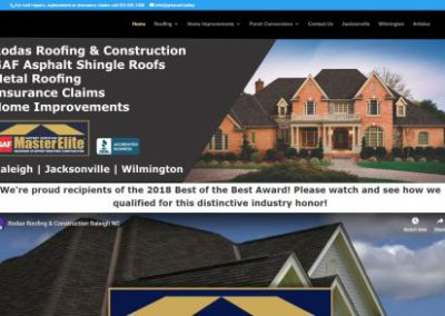 image shows website design for Rodas Roofing & Construction by Digital Business Services Myrtle Beach SC