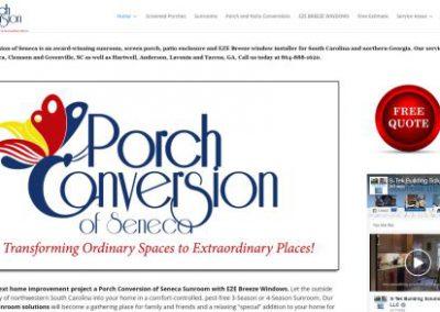 image shows website design for Porch Conversion of Seneca by Digital Business Services Myrtle Beach SC