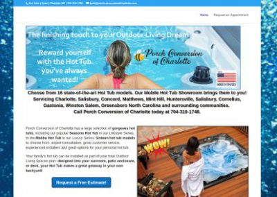 image shows website design for Hot Tubs by Digital Business Services Myrtle Beach SC