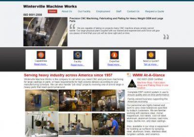 image shows website design for Winterville Machine Works by Digital Business Services Myrtle Beach SC