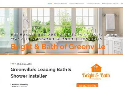 image shows home web page for Bright and Bath on a website built by Digital Business Services in Myrtle Beach, SC. Services include web design, SEO, Google Pay Per Click, social media and digital streaming advertising.