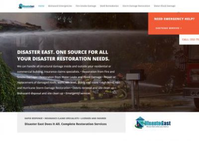 image shows home web page for Disaster East on a website built by Digital Business Services in Myrtle Beach, SC. Services include web design, SEO, Google Pay Per Click, social media and digital streaming advertising.