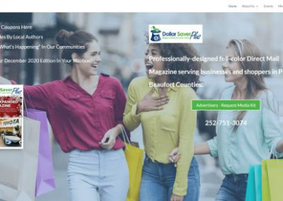 image shows home web page for Dollar Saver Plus on a website built by Digital Business Services in Myrtle Beach, SC. Services include web design, SEO, Google Pay Per Click, social media and digital streaming advertising.