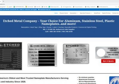 image shows home web page for Etched Metal Co. on a website built by Digital Business Services in Myrtle Beach, SC. Services include web design, SEO, Google Pay Per Click, social media and digital streaming advertising.