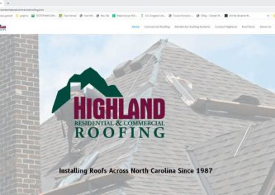 image shows home web page for Highland Residential and Commercial Roofing on a website built by Digital Business Services in Myrtle Beach, SC. Services include web design, SEO, Google Pay Per Click, social media and digital streaming advertising.