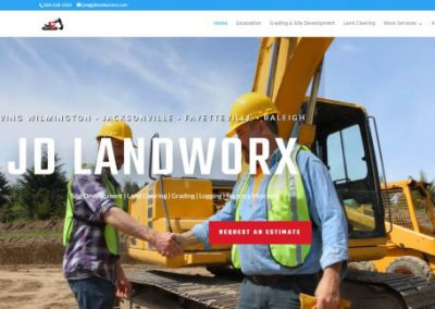 image shows home web page for JD Landworx on a website built by Digital Business Services in Myrtle Beach, SC. Services include web design, SEO, Google Pay Per Click, social media and digital streaming advertising.