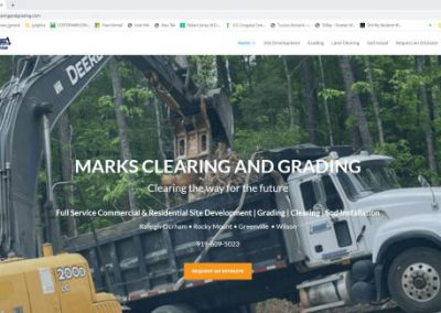 image shows home web page for Marks Clearing and Grading on a website built by Digital Business Services in Myrtle Beach, SC. Services include web design, SEO, Google Pay Per Click, social media and digital streaming advertising.