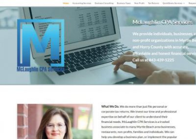 image shows home web page for McLaughlin CPA on a website built by Digital Business Services in Myrtle Beach, SC. Services include web design, SEO, Google Pay Per Click, social media and digital streaming advertising.
