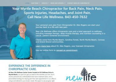 image shows home web page for New Life Wellness on a website built by Digital Business Services in Myrtle Beach, SC. Services include web design, SEO, Google Pay Per Click, social media and digital streaming advertising.