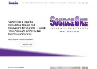 image shows home web page for Source One America on a website built by Digital Business Services in Myrtle Beach, SC. Services include web design, SEO, Google Pay Per Click, social media and digital streaming advertising.