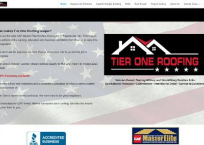image shows home web page for Tier One Roofing on a website built by Digital Business Services in Myrtle Beach, SC. Services include web design, SEO, Google Pay Per Click, social media and digital streaming advertising.