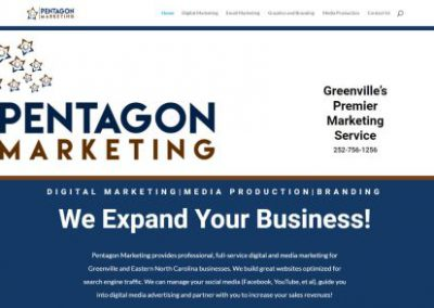 image shows home web page for Pentagon Marketing on a website built by Digital Business Services in Myrtle Beach, SC. Services include web design, SEO, Google Pay Per Click, social media and digital streaming advertising.